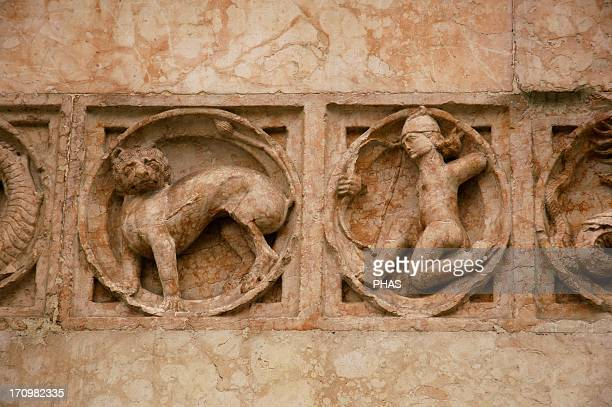 Italy Parma Baptistery Reliefs of different zodiacal signs and animals by Benedetto Antelami 13th century Detail Sagittarius