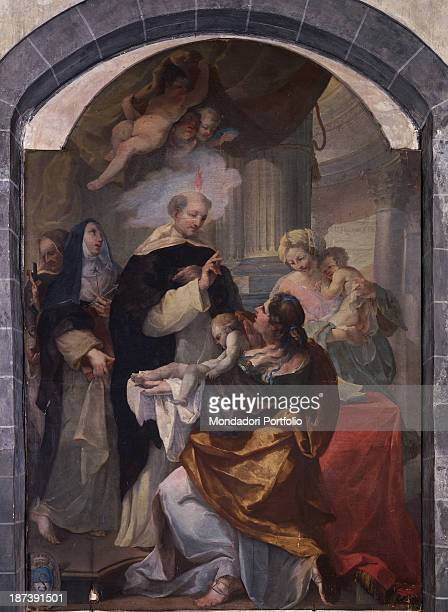 Italy Piedmont Saluzzo Chiesa di San Giovanni Total The Saint performs a miracle in the scene there are a woman a child some angels a nun They all...