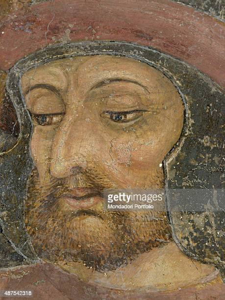Italy Piedmont Serralunga di Crea Santuario della Madonna di Crea Detail A man looking at Saint Margaret of Antioch undergoing the trial by boiling...