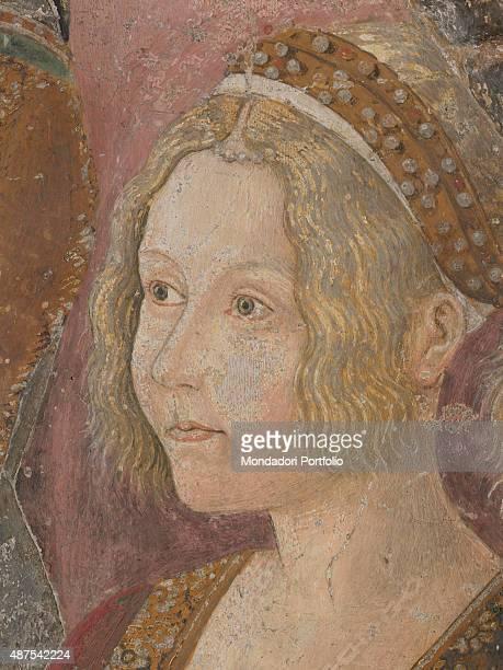 Italy Piedmont Serralunga di Crea Santuario della Madonna di Crea Detail Detail of the right side of the tryptich closeup of Blanche William VIII...