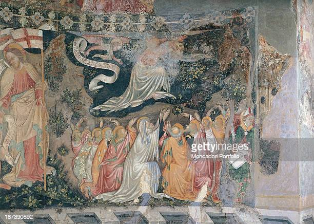Italy Piedmont Sezzadio Santa Giustina Detail A scene from the cycle dedicated to the Ascension of Jesus Christ A group of worshipping sacred figures...