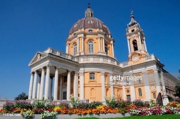 Italy Piedmont Turin Basilica Superga with flowering garden in foreground