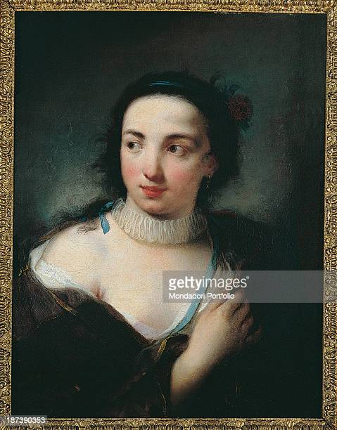 Italy Piedmont Turin Galleria Sabauda All Portrait of a young female figure The girl shows her bust where can be seen the décolleté and threequarter...