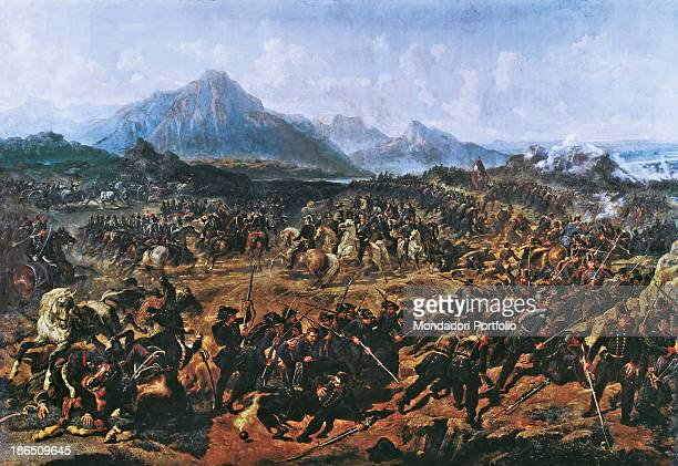 Italy Piedmont Turin Museo Nazionale del Risorgimento Whole artwork view A battle in the Italian War of Independence against Austria the two armies...