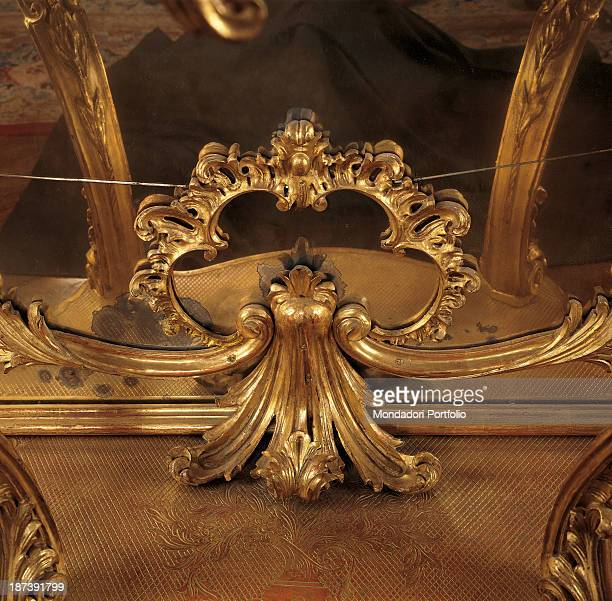 Italy Piedmont Turin Palazzo Saluzzo di Paesana Detail Golden decoration with scrolls and foliage