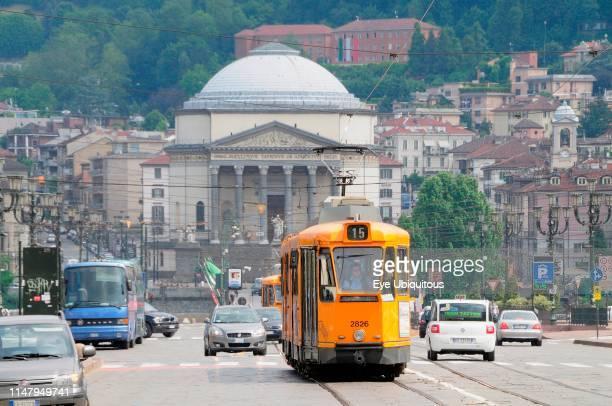 Italy Piedmont Turin tram transport on Piazza Vittorio Veneto with the church Gran Madre de Dio in distance