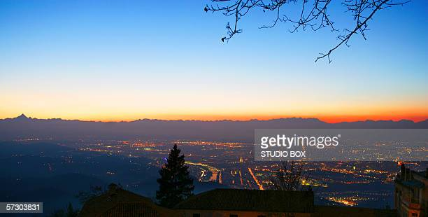 Italy, Piedmont, Turin, View Of The City From The Basilica Of Superga At Sunset.