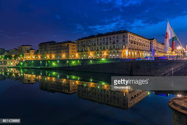 Italy, Piemont, Turin, Po river at night