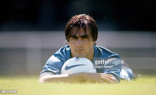 Italy player Fabio Cannavaro pictured holding a ball during a Nike photo shoot in Cap Ferrat in July 1997 in France