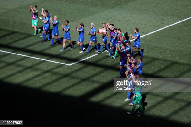 Italy players acknowledges the fans in defeat after the 2019 FIFA Women's World Cup France Quarter Final match between Italy and Netherlands at Stade...