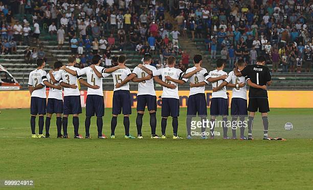 Italy players and France players observe a one minute silence in respect of the victims of the Italy earthquake during the international friendly...