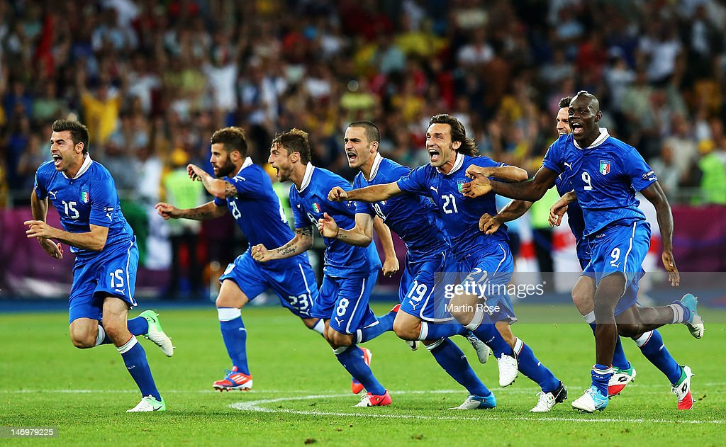 Italy players celebrate after the penalty shoot out during the UEFA EURO 2012 quarter final match between England and Italy at The Olympic Stadium on June 24, 2012 in Kiev, Ukraine.