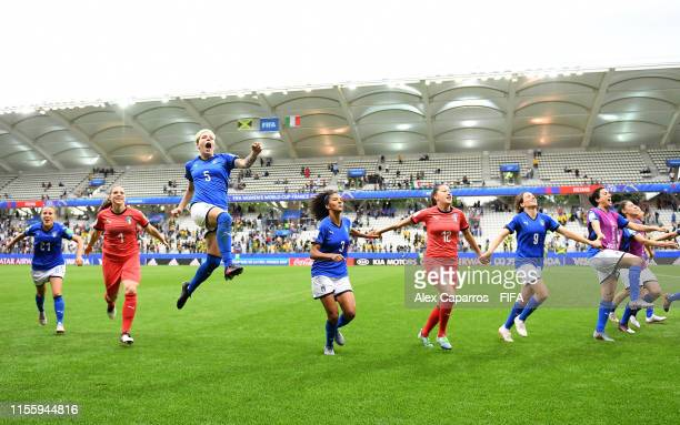 Italy players celebrate following their sides victory in the 2019 FIFA Women's World Cup France group C match between Jamaica and Italy at Stade...