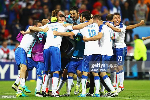 Italy players celebrate their second goal during the UEFA EURO 2016 Group E match between Belgium and Italy at Stade des Lumieres on June 13 2016 in...