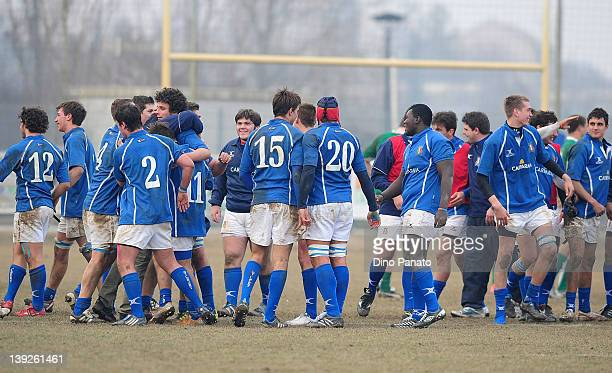 Italy players celebrates the victory after the U18 rugby test match between Italy U18 and Ireland U18 on February 18 2012 in Badia Polesine Italy