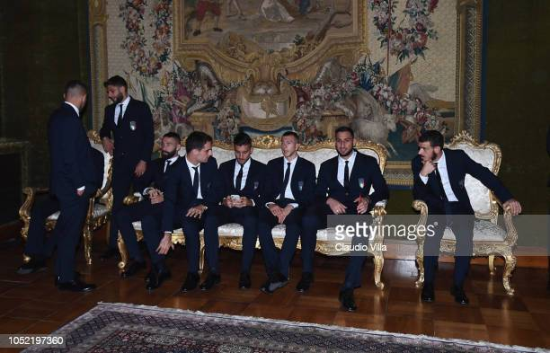 Italy players chat before Italy Team meets President Sergio Mattarella on October 15 2018 in Rome Italy