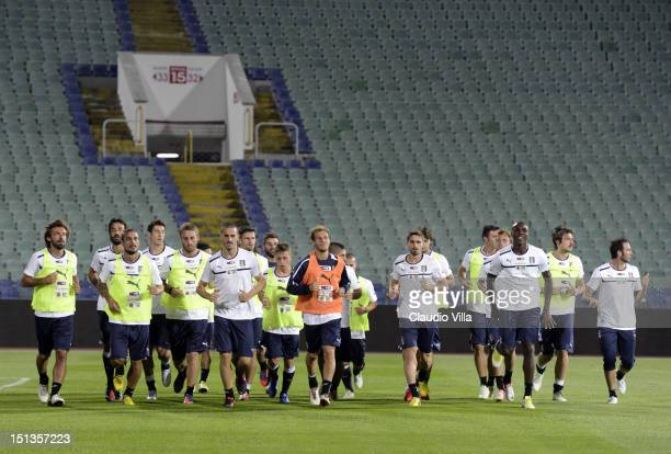 Italy players during a training session ahead of their FIFA World Cup Brazil 2014 qualifier against Bulgaria at Vasil Levski National Stadium on...