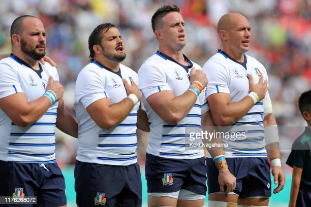 Italy players line up for the national anthem prior to the Rugby World Cup 2019 Group B game between Italy and Namibia at Hanazono Rugby Stadium on...