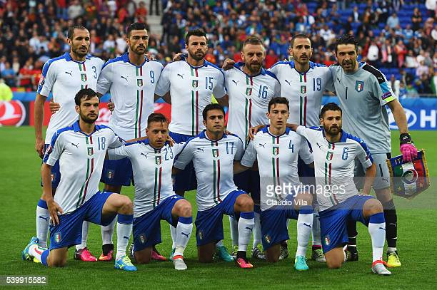 Italy players line up for the team photos prior to the UEFA EURO 2016 Group E match between Belgium and Italy at Stade des Lumieres on June 13 2016...