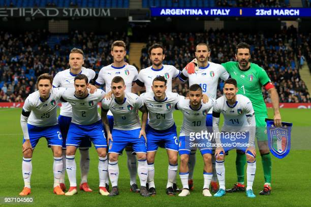 Italy players pose for a team photo ahead of the international friendly match between Italy and Argentina at the Etihad Stadium on March 23 2018 in...