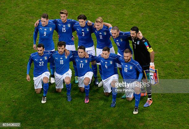 Italy players poses before the International Friendly Match between Italy and Germany at Giuseppe Meazza Stadium on November 15 2016 in Milan
