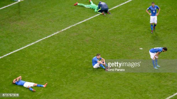 Italy players show thier dejection after the FIFA 2018 World Cup Qualifier PlayOff Second Leg between Italy and Sweden at San Siro Stadium on...
