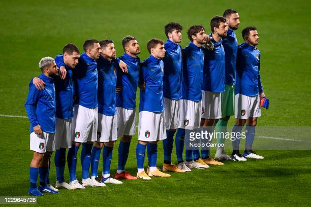Italy players sing national anthem prior to the UEFA Nations League football match between Italy and Poland. Italy won 2-0 over Poland.