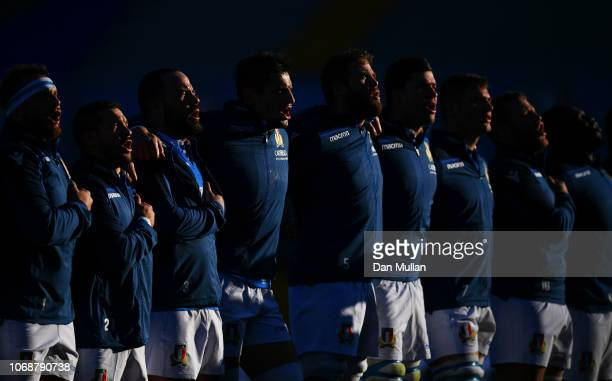 Italy players sing the national anthem prior to the international friendly between Italy and Australia at Stadio Euganeo on November 17 2018 in...