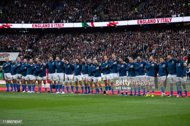Italy players singing the anthem before the Guinness Six Nations match between England and Italy at Twickenham Stadium on March 9 2019 in London...