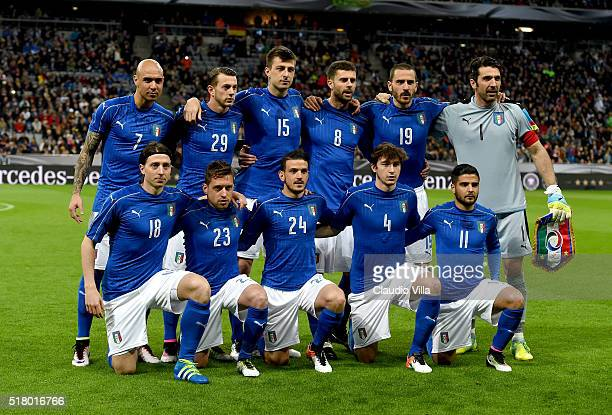 Italy pose for a photograph prior to the international friendly match between Germany and Italy at Allianz Arena on March 29 2016 in Munich Germany