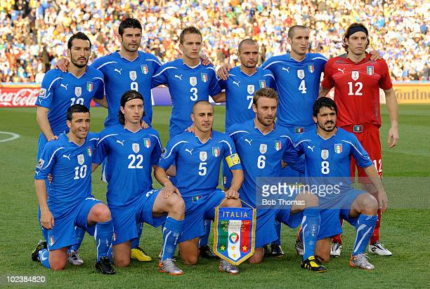 Italy pose for a team group before the start of the 2010 FIFA World Cup South Africa Group F match between Slovakia and Italy at Ellis Park Stadium...