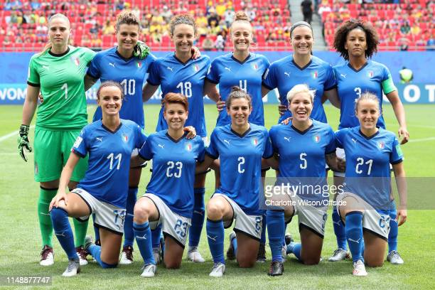 Italy pose for a team group photo during the 2019 FIFA Women's World Cup France group C match between Australia and Italy at Stade du Hainaut on June...