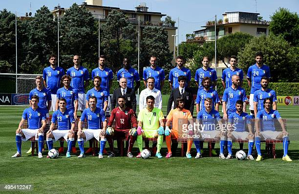 Italy pose for a team photo during Italy's official portrait session for Brazil 2014 World Cup at Coverciano on June 3 2014 in Florence Italy