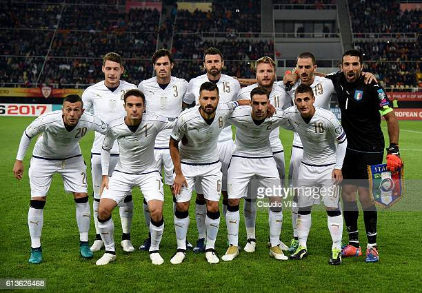 Italy pose prior to the FIFA 2018 World Cup Qualifier between FYR Macedonia and Italy at Nacionalna Arena Filip II Makedonski on October 9 2016 in...