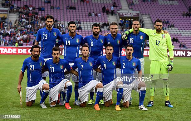 Italy poses before the international friendly match between Portugal and Italy at Stade de Geneve on June 16 2015 in Geneva Switzerland