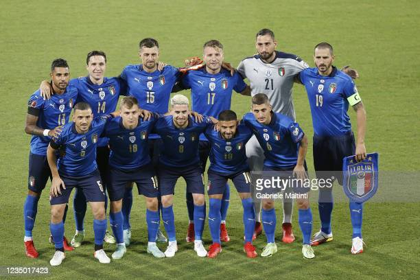 Italy poses during the 2022 FIFA World Cup Qualifier match between Italy and Bulgaria at Artemio Franchi on September 2, 2021 in Florence, Italy.