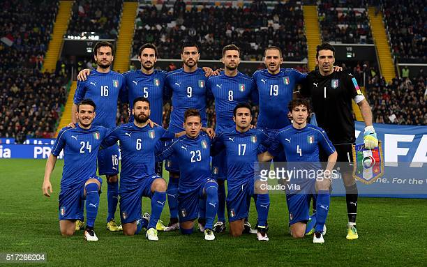 Italy poses for a photo prior to the international friendly match between Italy and Spain at Stadio Friuli on March 24 2016 in Udine Italy