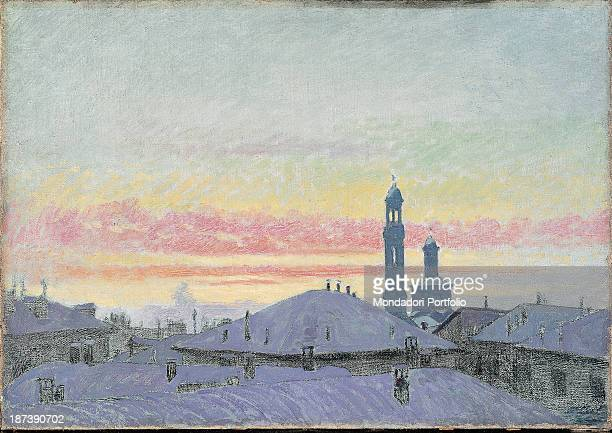 Italy private collection Painting depicting the roofs of Milan under the snow at sunset The light colours convey a sense of cold In the horizon the...