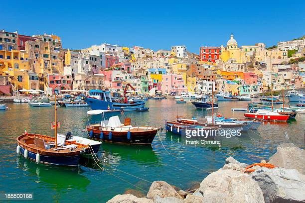 italy, procida island, corricella. - sorrento stock pictures, royalty-free photos & images