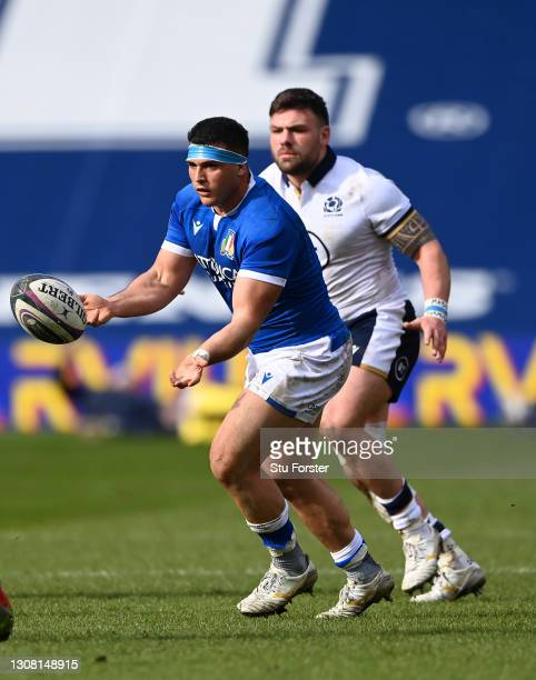 Italy prop Danilo Fischetti in action during the Guinness Six Nations match between Scotland and Italy at Murrayfield on March 20, 2021 in Edinburgh,...
