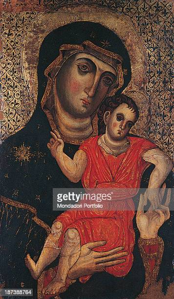 Italy Puglia Bari Pinacoteca Provinciale Corrado Giaquinto All Virgin wearing an embroided mantle The mother keeps blessing Child Jesus in her arms...