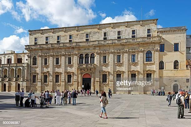 italy, puglia, lecce, palazzo del seminario on piazza del duomo - lecce stock photos and pictures