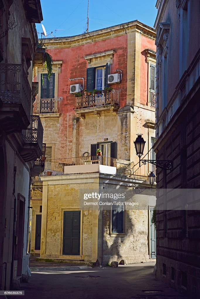 Italy, Puglia, Lecce, Street in old town : Stock Photo
