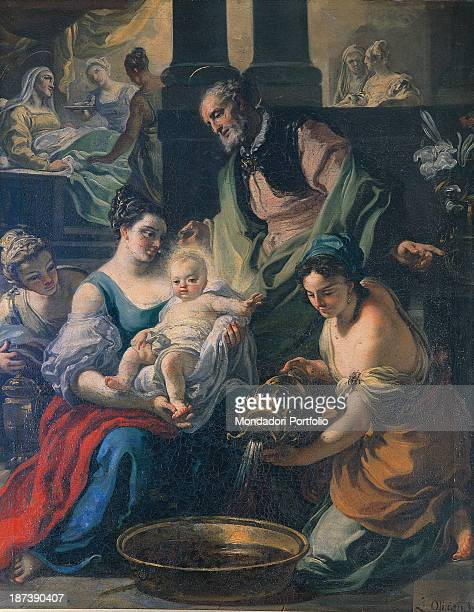 Italy Puglia Martina Franca Congrega della Vergine All Birth of the Virgin With a pitcher maidservants fill a washbasin with water while another...