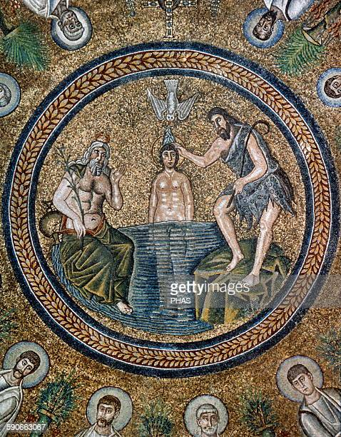 Italy Ravenna Arian Baptistry Erected by the Ostrogothic King Theodoric the Great Ceiling Mosaic Baptism of Jesus by Saint John the Baptist 6th...