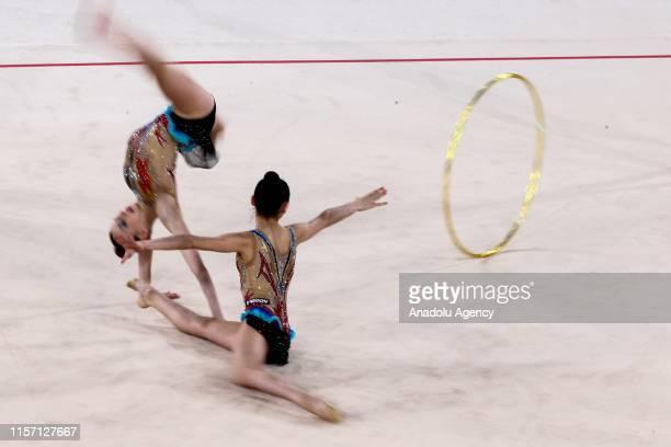 Italy rhythmic gymnast team performs during the final within the 1st FIG Rhythmic Gymnastics Junior World Championships at Rhythmic Gymnastics Centre...
