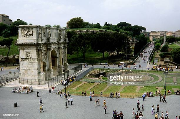 Italy Rome Colosseum View Of Arch Of Constantine