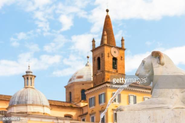 Italy, Rome, gargoyle in front of Santa Maria del Popolo
