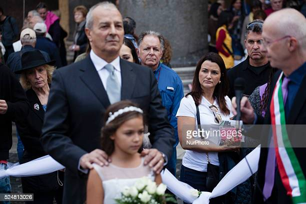 Giorgia ten years performs a fake child marriage organised by Amnesty International in front of Pantheon in Rome on October 26 2015According to...