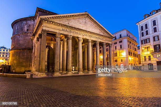 italy, rome, illuminated pantheon at night - pantheon rome stock photos and pictures